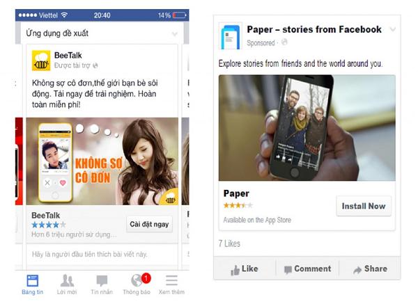 Quảng cáo cài đặt ứng dụng trên Facebook .