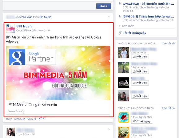 Quảng cáo Facebook tại News Feed