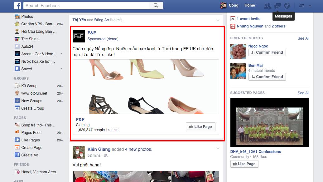 Hình thức quảng cáo Facebook - quảng cáo fanpage