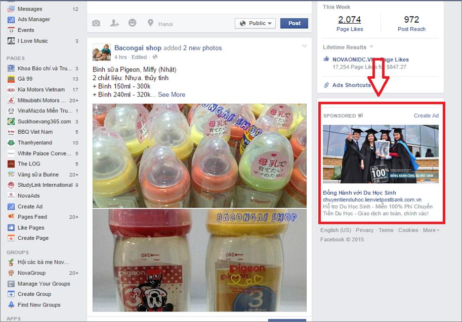 Quảng cáo Facebook cột bên phải